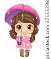 Kid Girl Winter Fashion Umbrella Illustration 37553298