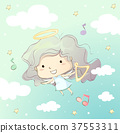 Kid Girl Angel Flying Harp 37553311