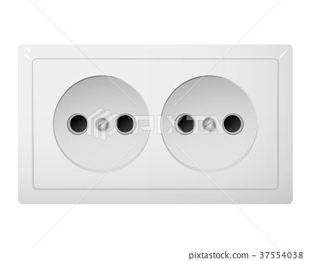 Twin electrical socket Type C. Power plug. 37554038