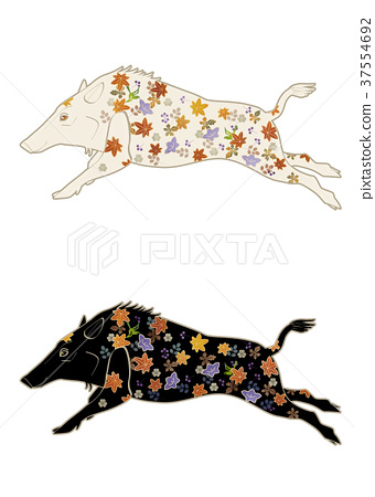 Japanese pattern decorated boar illustration set 37554692