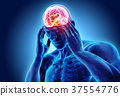 3d illustration of headache human. 37554776