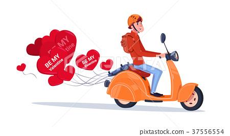 Man Riding Retro Motor Bike With Heart Shaped Air 37556554