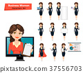 Businesswoman with various things. Set 37556703