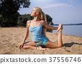 yoga, beach, woman 37556746
