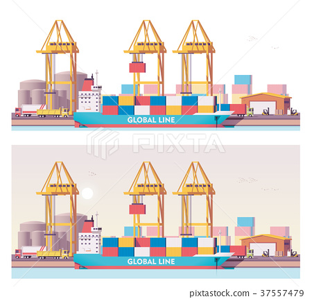 Vector low poly 2d cargo port 37557479