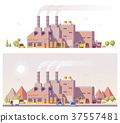 Vector low poly 2d factory 37557481