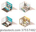 Vector isometric low poly laundry icon set 37557482