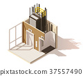 Vector isometric low poly elevator cutaway icon 37557490