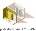 Vector isometric low poly gym locker room icon 37557492