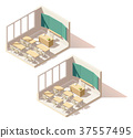 Vector isometric low poly school classroom 37557495