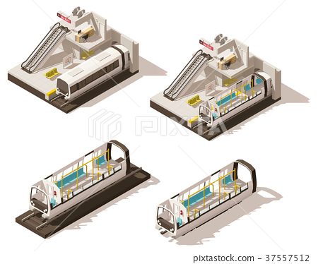 Vector isometric low poly subway station cutaway 37557512