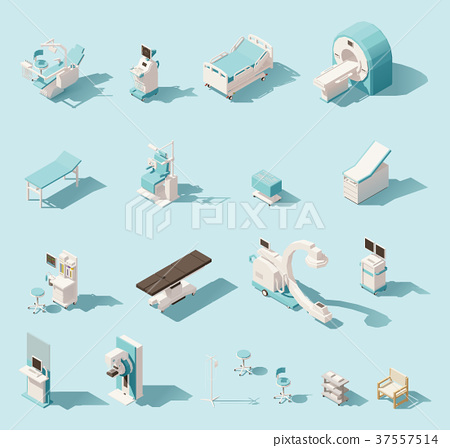 Vector isometric low poly medical equipment set 37557514