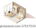 vector, isometric, room 37557534