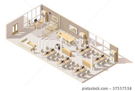 Vector isometric low poly office 37557538