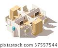 vector, isometric, office 37557544