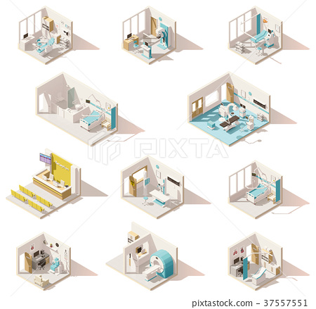 Vector isometric low poly hospital rooms 37557551