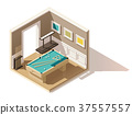 Vector isometric low poly pool room 37557557