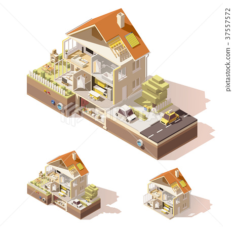 Vector isometric low poly house cross-section 37557572