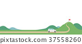 汽車和山區表達的項目和目標(水平,沒有特徵) 37558260
