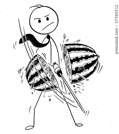 Conceptual Cartoon of Businessman Cutting Water 37560512