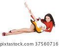 Sexy young female posing with guitar over white 37560716
