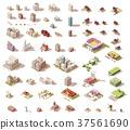 vector, isometric, building 37561690