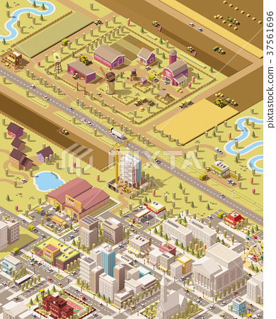 Vector isometric low poly farm and city 37561696