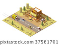 Vector isometric low poly farmers food store 37561701