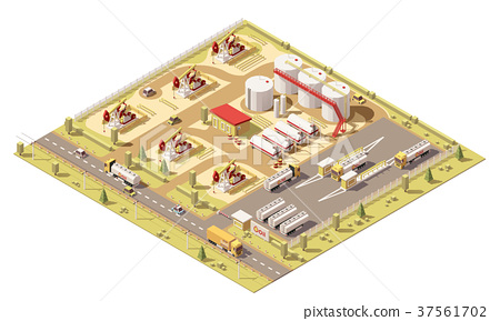 Vector isometric low poly oil field 37561702