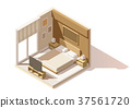 Vector isometric low poly bedroom icon 37561720