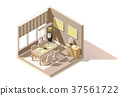 Vector isometric low poly dining room icon 37561722