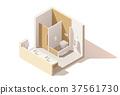Vector isometric low poly public toilet icon 37561730