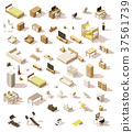 Vector isometric low poly domestic furniture set 37561739