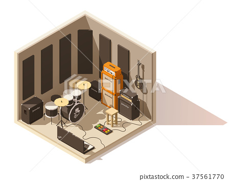 Vector isometric low poly recording studio icon 37561770