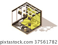 Vector isometric low poly television studio 37561782