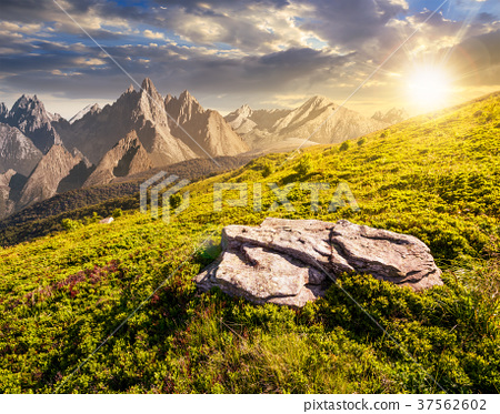 composite of meadow in rocky mountains at sunset 37562602