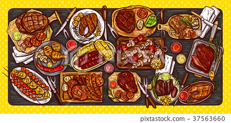 illustration, culinary banner, barbecue 37563660