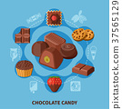 Chocolate Candies Flat Composition 37565129