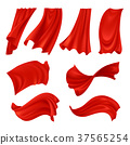 Realistic Billowing Red Cloth  37565254
