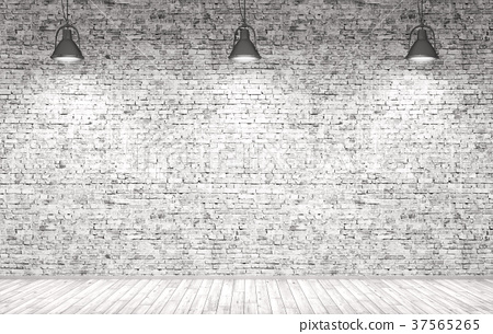 Brick wall, wooden floor and lamps  background 3d 37565265
