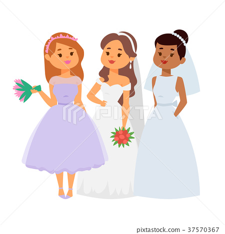 Wedding brides characters vector illustration 37570367