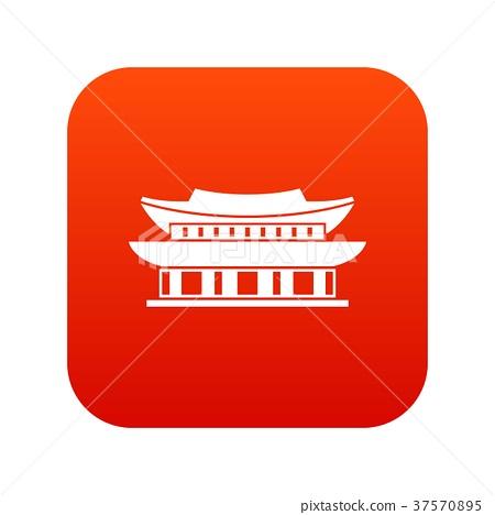 Gyeongbokgung palace, Seoul icon digital red 37570895