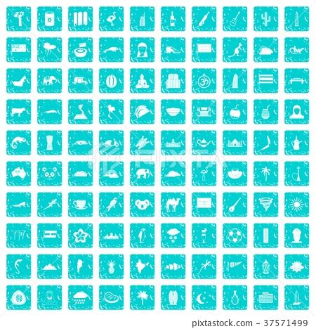 100 exotic animals icons set grunge blue 37571499