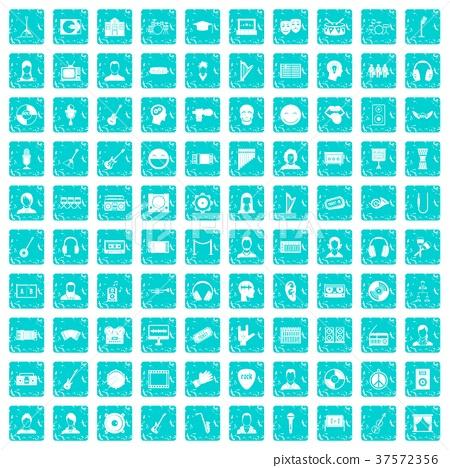 100 audience icons set grunge blue 37572356