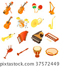 Musical instruments icons set, isometric style 37572449