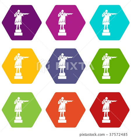 Columbus monument icon set color hexahedron 37572485