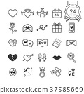 Monochrome sign and symbol line icon for valentine 37585669