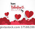 Paper art of illustration love and valentine day 37586286