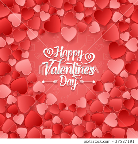Valentine's day background with red hearts 37587191
