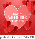 Valentine's day background with cut paper heart 37587196